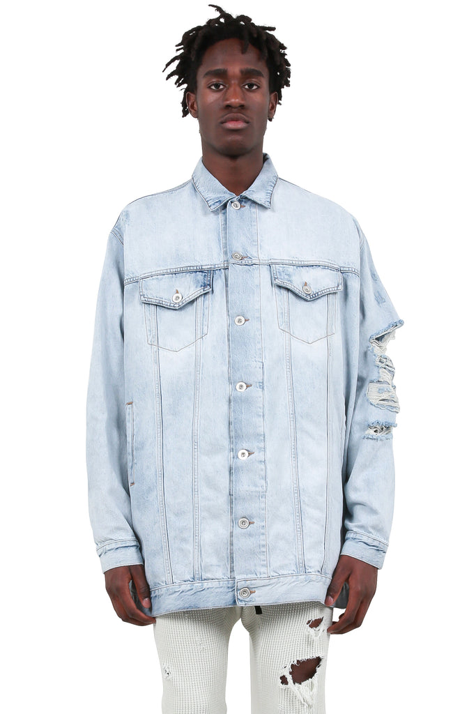 UNRAVEL PROJECT: Bleach Distressed Overlong Jacket - Light Blue | LESSONS