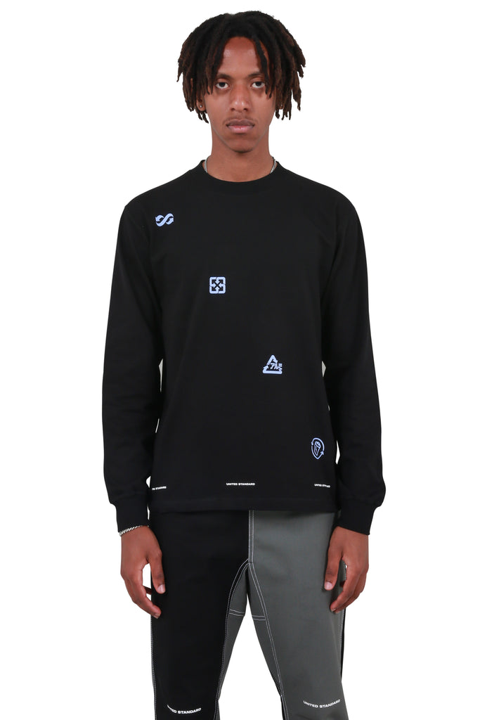 Virgil Logos Long Sleeve T-shirt - Black
