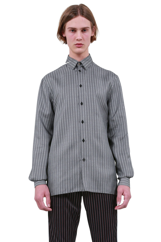 Greek Pattern Silk Shirt - Grey
