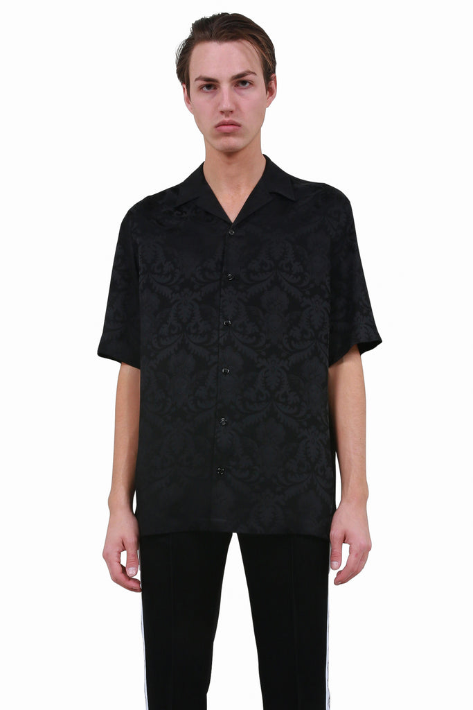 VERSACE: Baroque Pattern Silk Shirt - Black | LESSONS