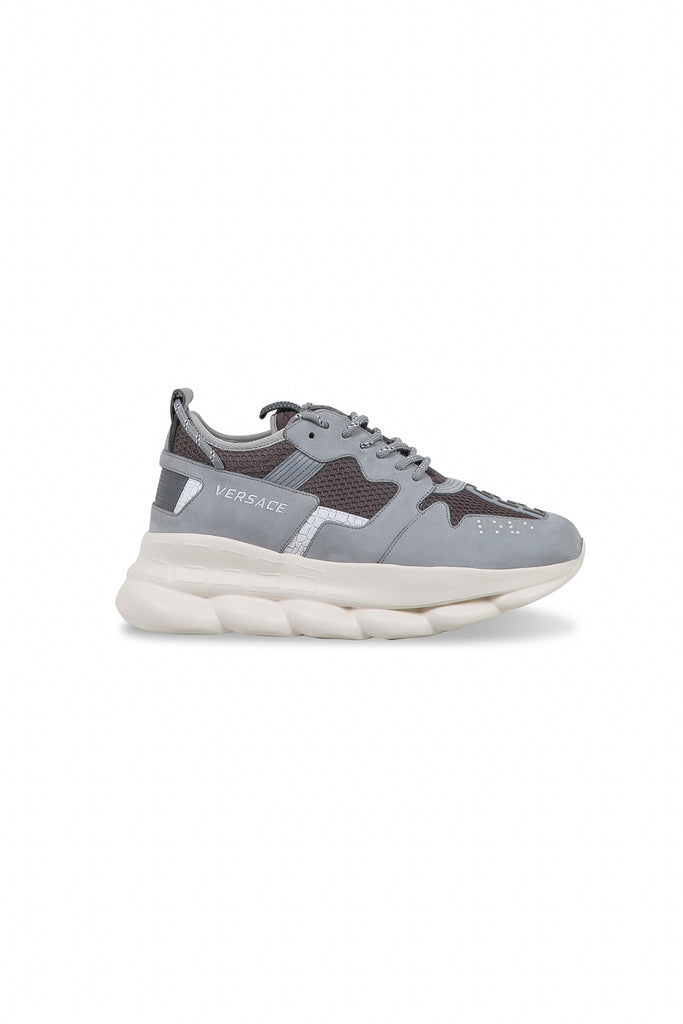 VERSACE: Chain Reaction Sneakers - Grey | LESSONS