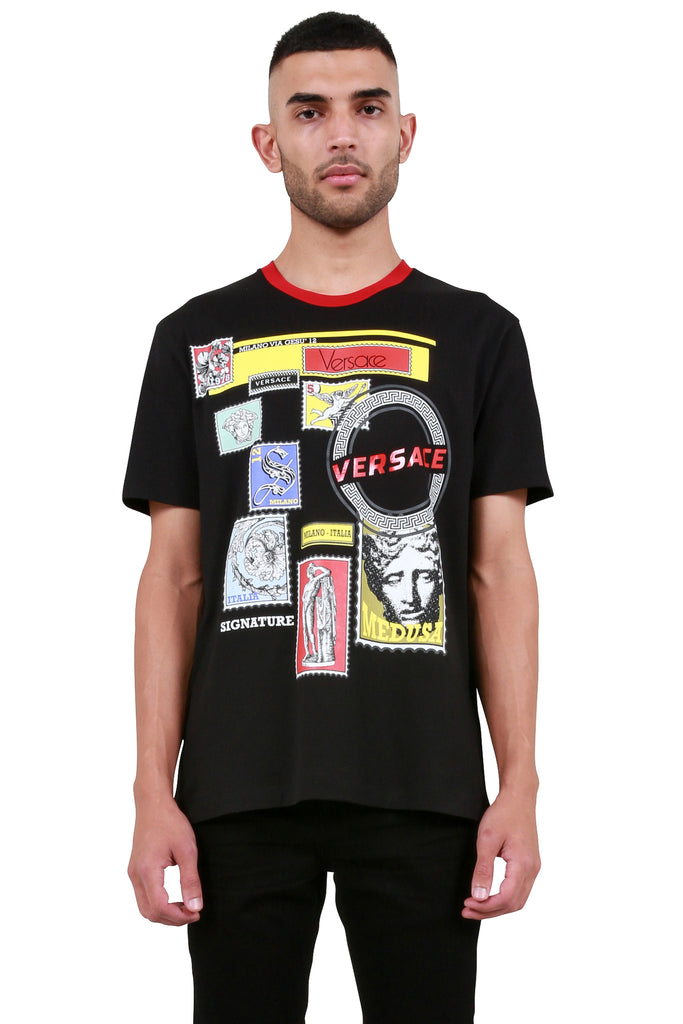 Collage Print T-Shirt - Black/Multicolor