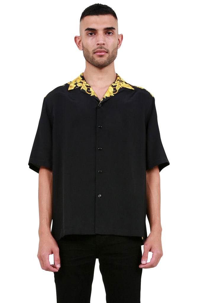 Baroque Print Bowling Shirt - Black