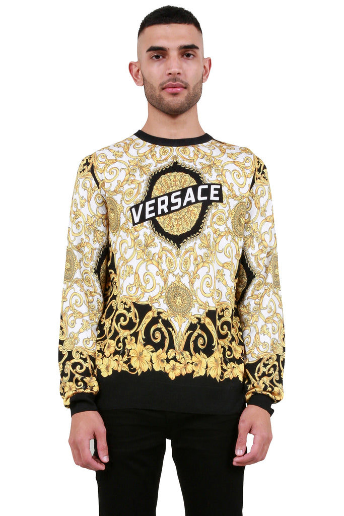 VERSACE: Baroque Print Sweater - White/Multicolor | LESSONS