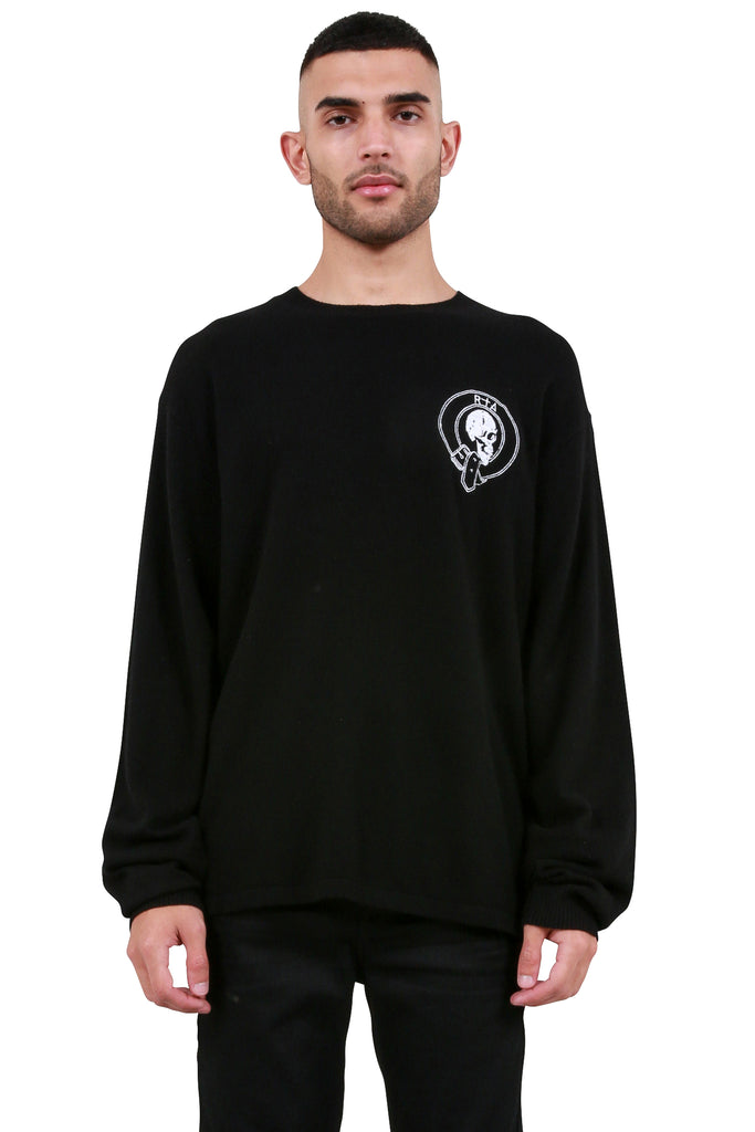 Embroidered Skeleton Sweater - Black