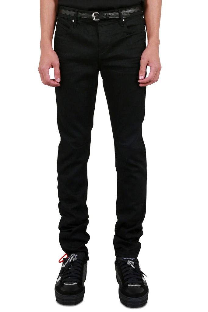 Belted Cross Rivet Denim - Black