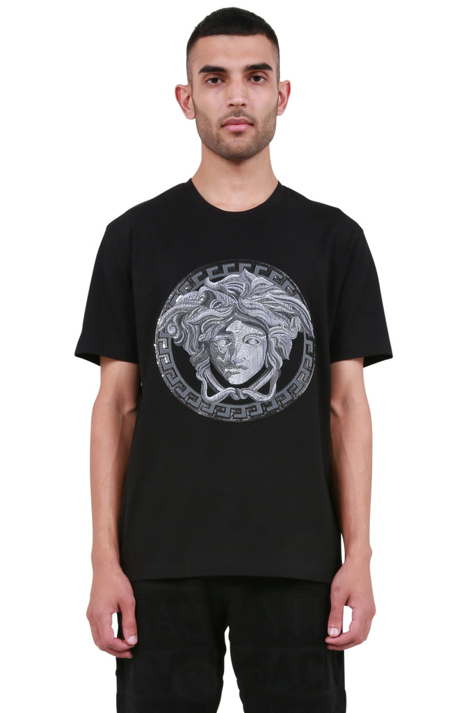 VERSACE: Embroidered Sequin Medusa T-Shirt - Black | LESSONS