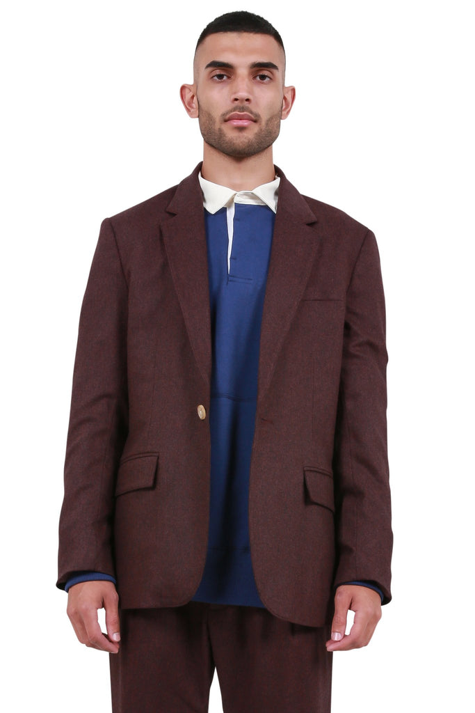Single Button Cashmere Jacket - Maroon