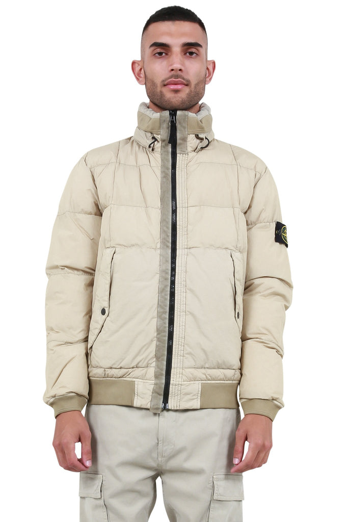 STONE ISLAND: Down Bomber Jacket - Nude | LESSONS