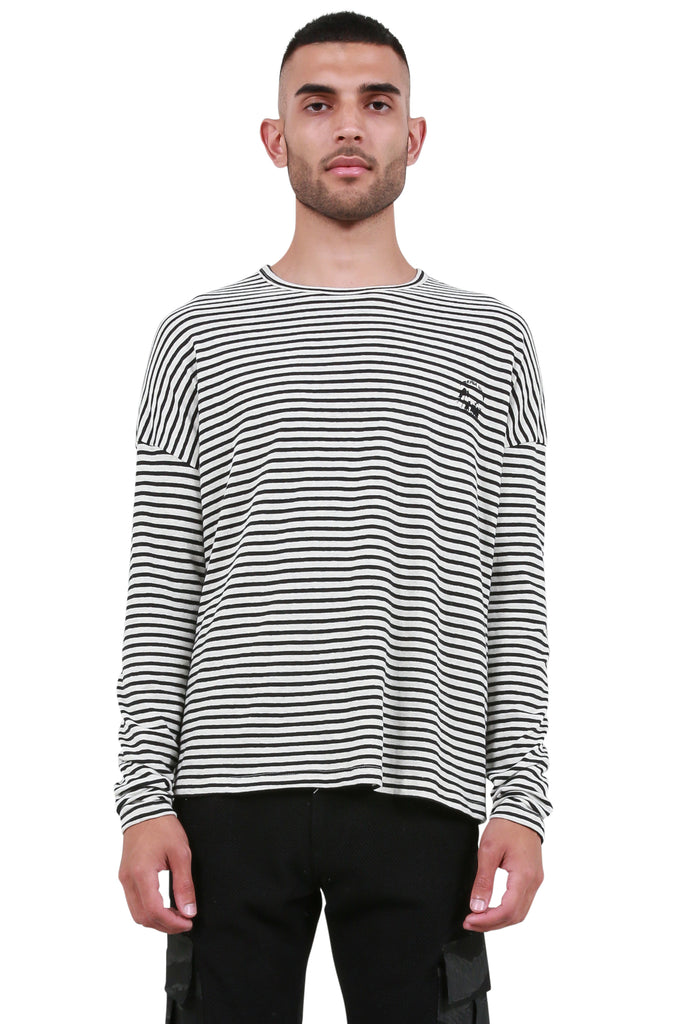 Striped Long Sleeve T-Shirt - Black/White