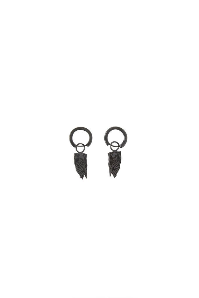 Wings Pendant Earrings - Black