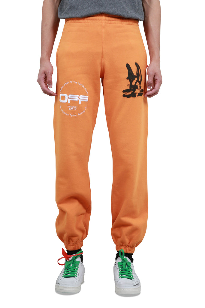 Cartoon Slim Sweat Pants - Orange/Black