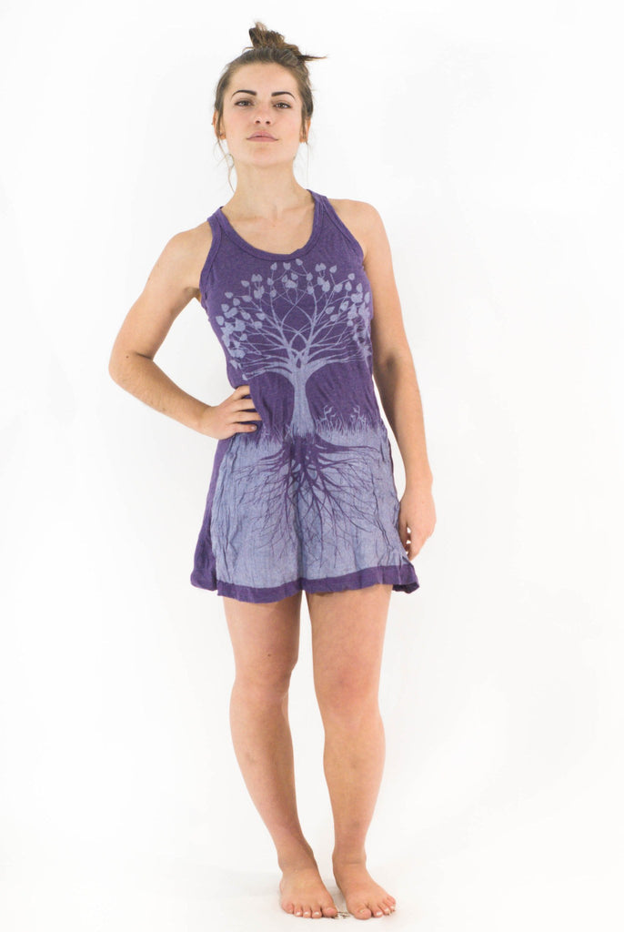Tank Dress Tree of Life Purple Silver - Koia Collective