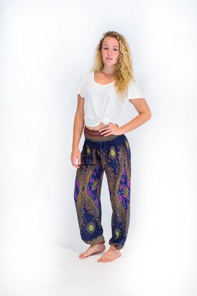 Women's Navy Peacock Eye Harem Pants - Koia Collective