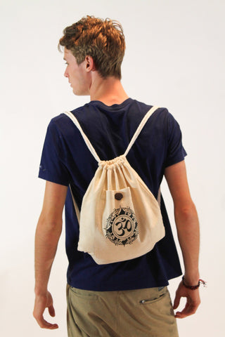 Ohm Drawstring Cotton Canvas Backpack in Cream - Koia Collective