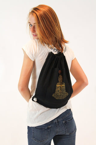 Word Buddha Drawstring Cotton Canvas Backpack in Black - Koia Collective