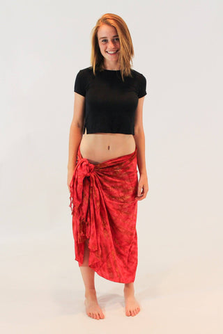 Organic Cotton Tie Dye Wrap Sarong Scarf Beach Cover Up Red - Koia Collective