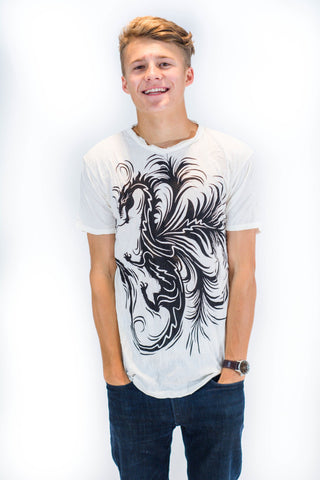 Men's Shirt White Dragon - Koia Collective
