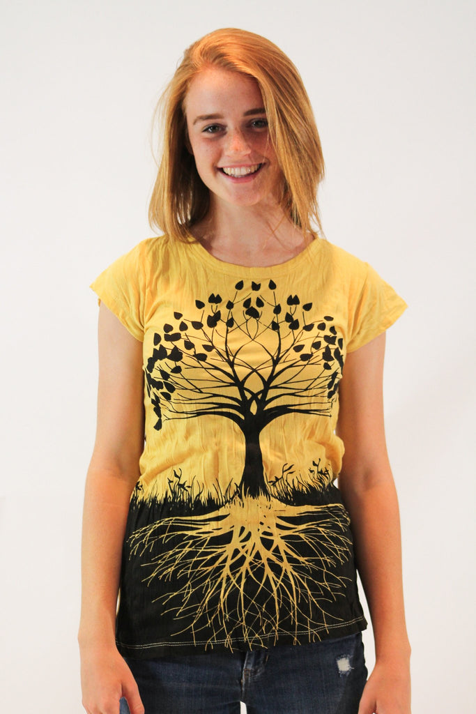 Women's Shirt Tree of Life Yellow - Koia Collective
