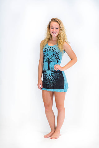 Women's Tank Dress Tree of Life Turquoise Blue - Koia Collective