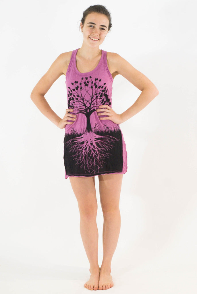 Tank Dress Tree of Life Pink - Koia Collective