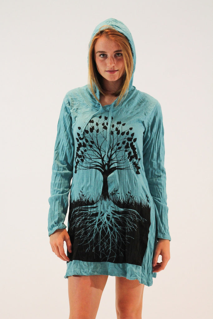 Tree of Life Hoodie Dress Blue - Koia Collective