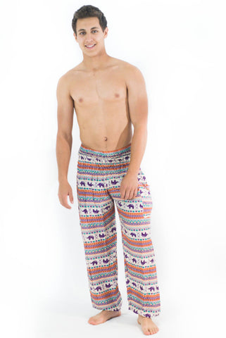 Orange Purple Elephant Pattern Harem Pants - Koia Collective
