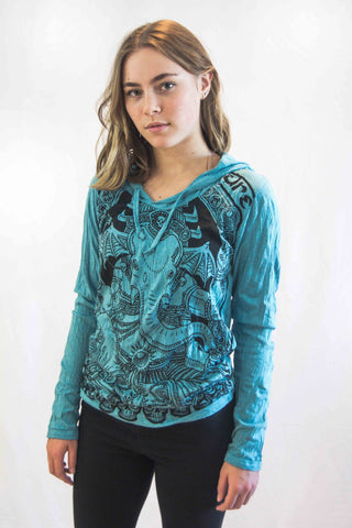 Lord Ganesh Hoodie Turquoise - Koia Collective