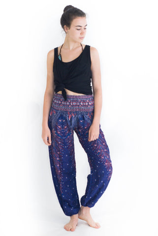 Purple Peacock Harem Pants - Koia Collective