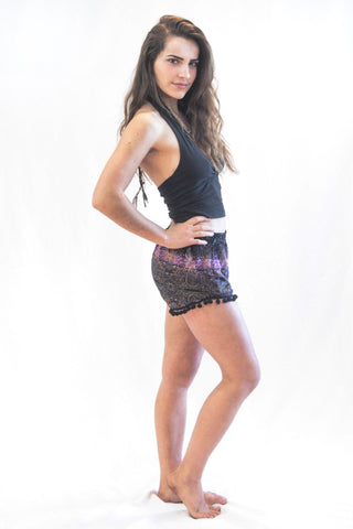 Paisley Pom Pom Shorts Purple Black - Koia Collective