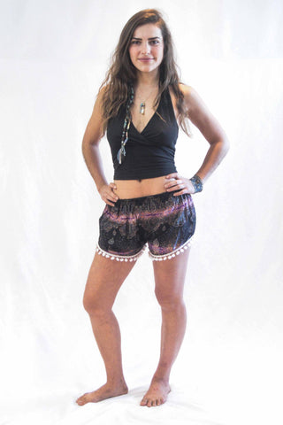 Paisley Pom Pom Shorts Purple White - Koia Collective