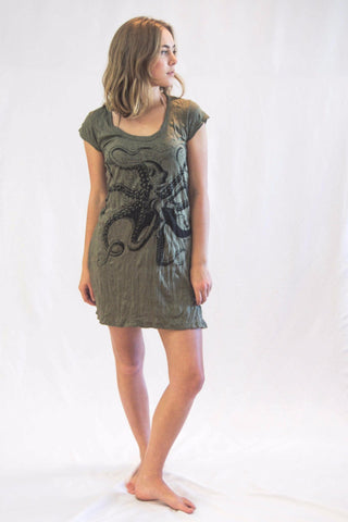 Tunic Dress Octopus Dark Green - Koia Collective