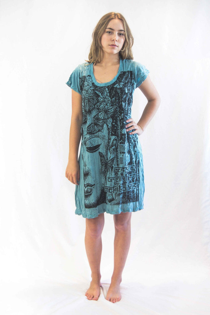 Tunic Dress Buddha Face Turquoise - Koia Collective