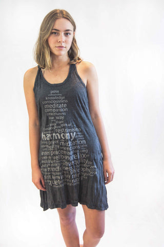 Tank Dress Word Buddha Silver - Koia Collective