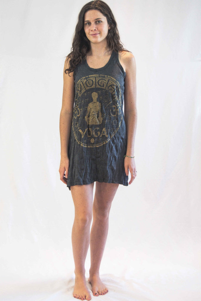 Tank Top Dress Yoga Stamp Gold - Koia Collective