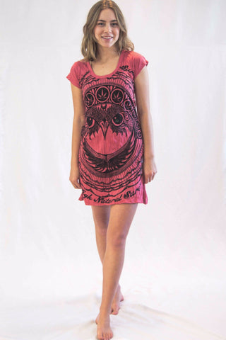 Tunic Dress Weed Owl Red - Koia Collective