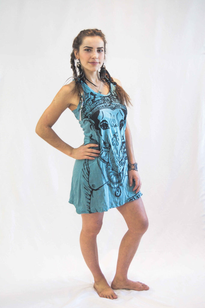 Tank Dress Lord Ganesh Turquoise - Koia Collective