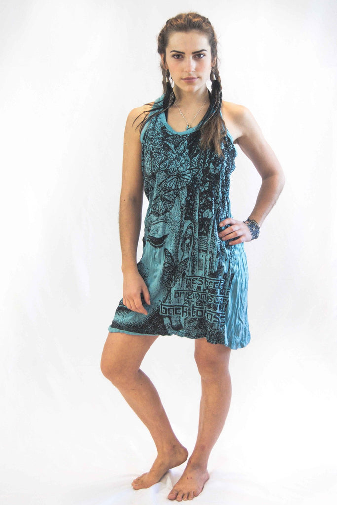 Tank Dress Buddha Face Turquoise - Koia Collective