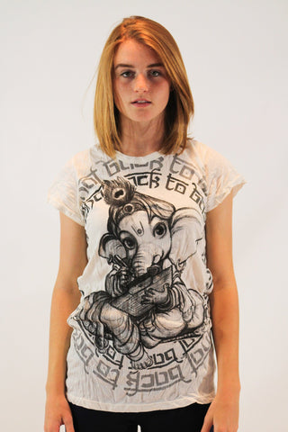 Women's Shirt Baby Ganesh White - Koia Collective