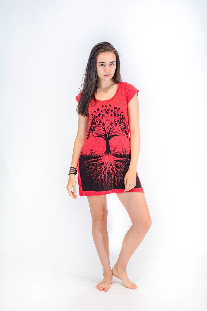 Tunic Dress Tree of Life Red - Koia Collective