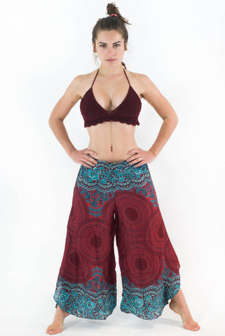 Wide Leg Harem Pants Red Geometric Mandalas - Koia Collective