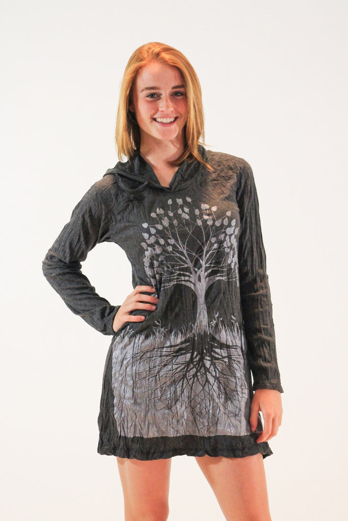 Tree of Life Hoodie Dress Silver - Koia Collective
