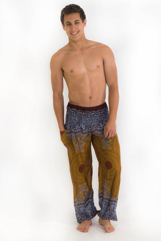 Bronze Geometric Mandala Harem Pants - Koia Collective