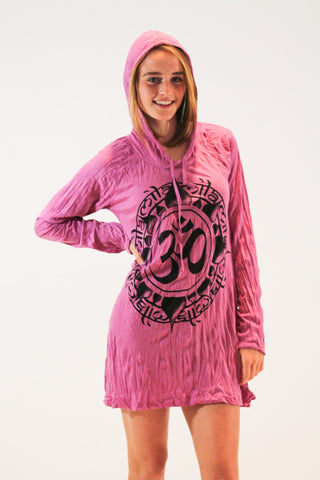 Ohm Hoodie Dress Pink - Koia Collective