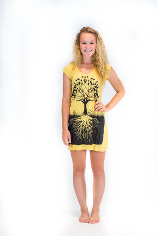 Tunic Dress Tree of Life Yellow - Koia Collective
