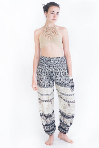 Black Elephant Print Harem Pants - Koia Collective