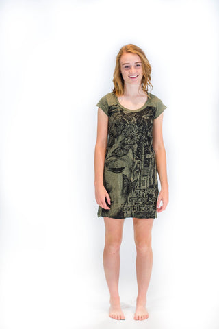 Tunic Dress Buddha Dark Green - Koia Collective