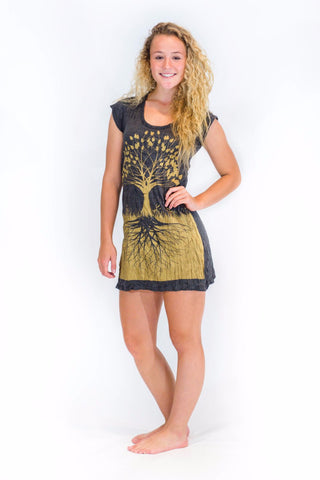 Tunic Dress Tree of Life Gold - Koia Collective