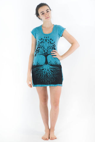 Tunic Dress Tree of Life Turquoise Blue - Koia Collective