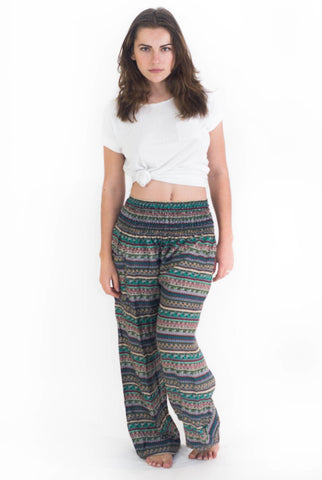 Green Aztec Stripes Harem Pants - Koia Collective